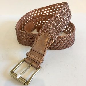 Talbots Leather Woven Belt Bronze Brown XL